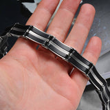 "316L Stainless Steel ""Silicone Ribbons"" Bracelet - Blown Biker - 5"