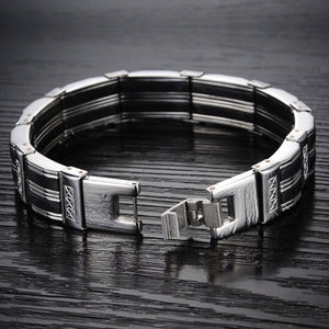 "316L Stainless Steel ""Silicone Ribbons"" Bracelet - Blown Biker - 4"