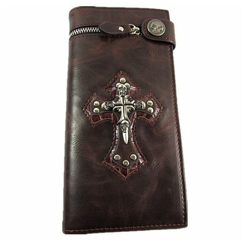 "Leather ""Skull Cross"" Bifold Wallet w/ Chain - Blown  Biker - 1"