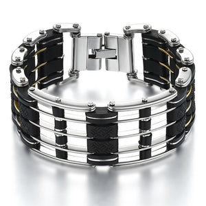 "316L Stainless Steel & Silicone ""Five Layer"" Biker Bracelet - Blown Biker - 1"