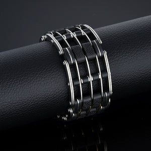 "316L Stainless Steel & Silicone ""Five Layer"" Biker Bracelet - Blown Biker - 6"