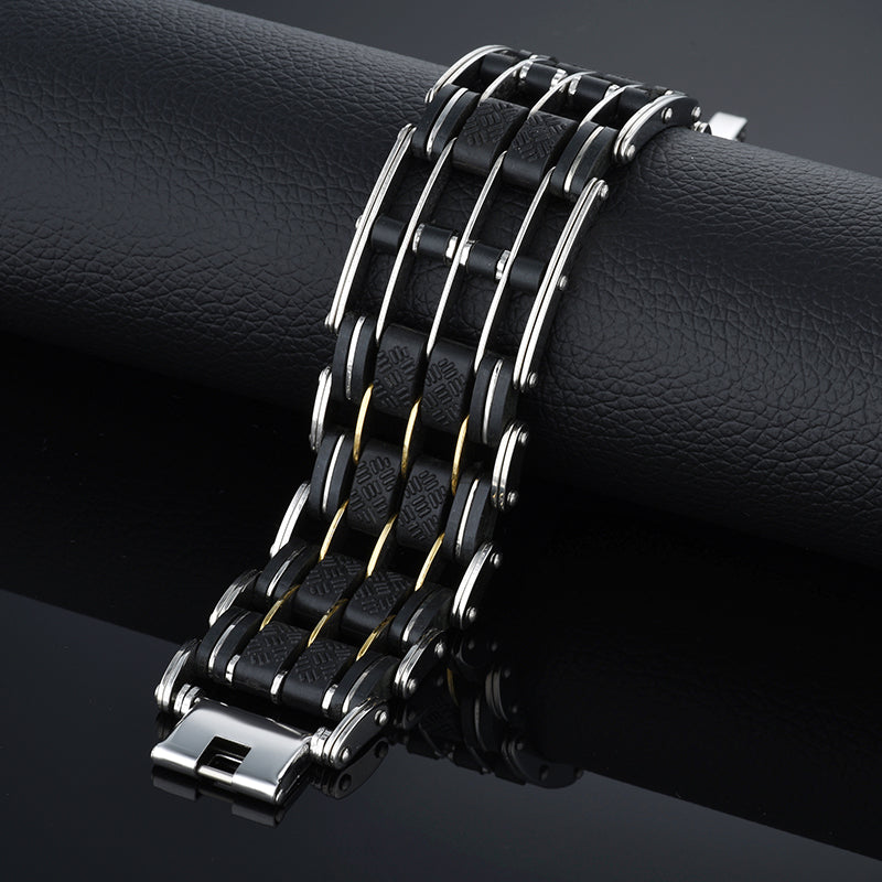 "316L Stainless Steel & Silicone ""Five Layer"" Biker Bracelet - Blown Biker - 5"