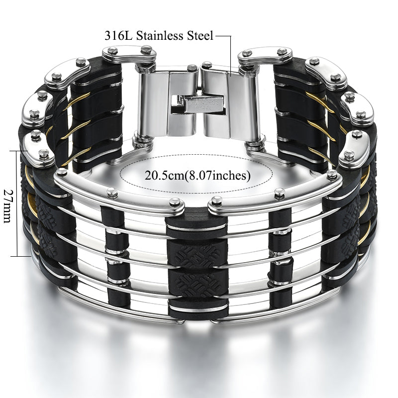 "316L Stainless Steel & Silicone ""Five Layer"" Biker Bracelet - Blown Biker - 3"