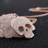 "Rose Gold ""Crystal Skull"" Necklace - Blown Biker - 3"