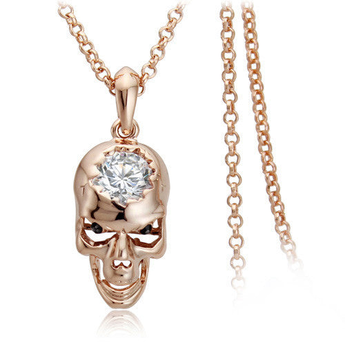"Rose Gold ""Zirconia Skull"" Necklace - Blown Biker - 1"