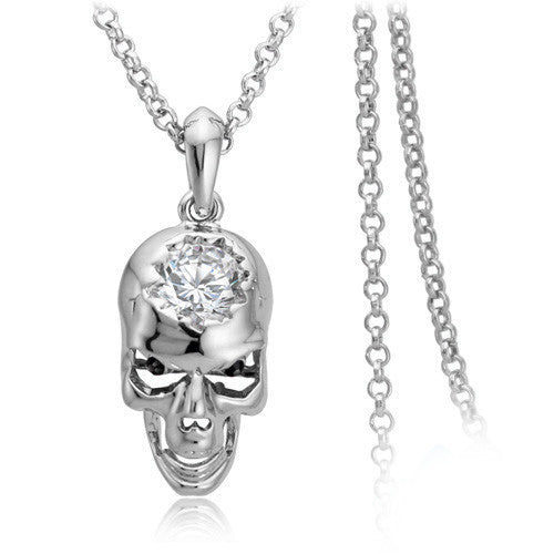 "Rose Gold ""Cracked Zirconia"" Necklace - Blown Biker - 2"