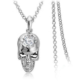 "Rose Gold ""Zirconia Skull"" Necklace - Blown Biker - 2"