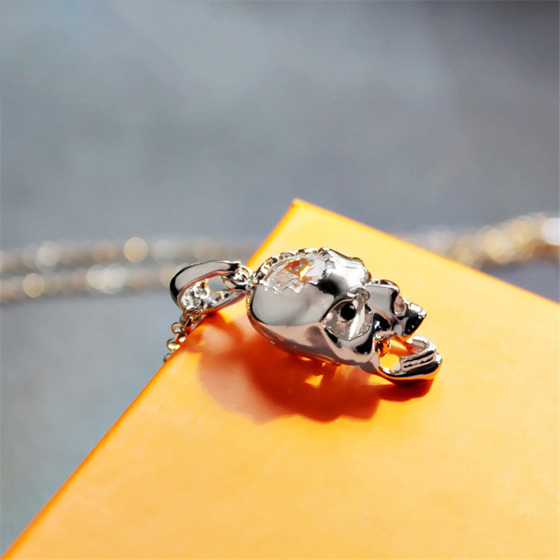 "Rose Gold ""Zirconia Skull"" Necklace - Blown Biker - 3"