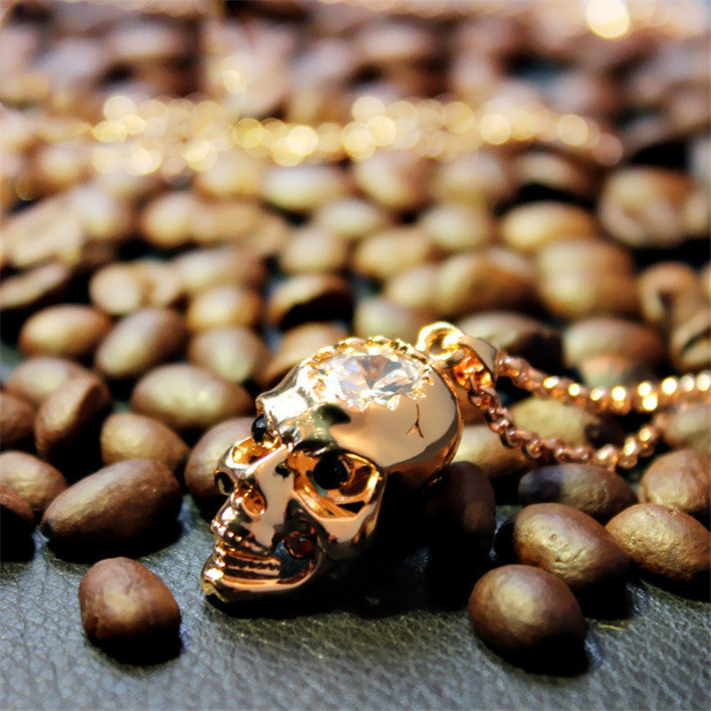 "Rose Gold ""Zirconia Skull"" Necklace - Blown Biker - 4"