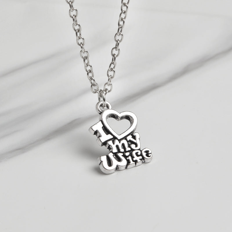 I Love My Husband/Wife Pendant Necklace/Keychain Set - Blown Biker - 4