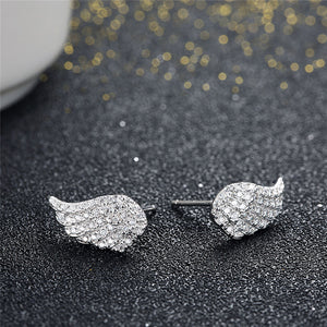 "925 Sterling Silver ""Crystal Wings"" Earrings"