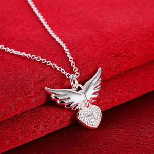 "925 Sterling Silver ""Flying Heart"" Necklace - Blown Biker - 4"