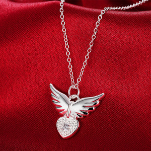 "925 Sterling Silver ""Flying Heart"" Necklace - Blown Biker - 1"