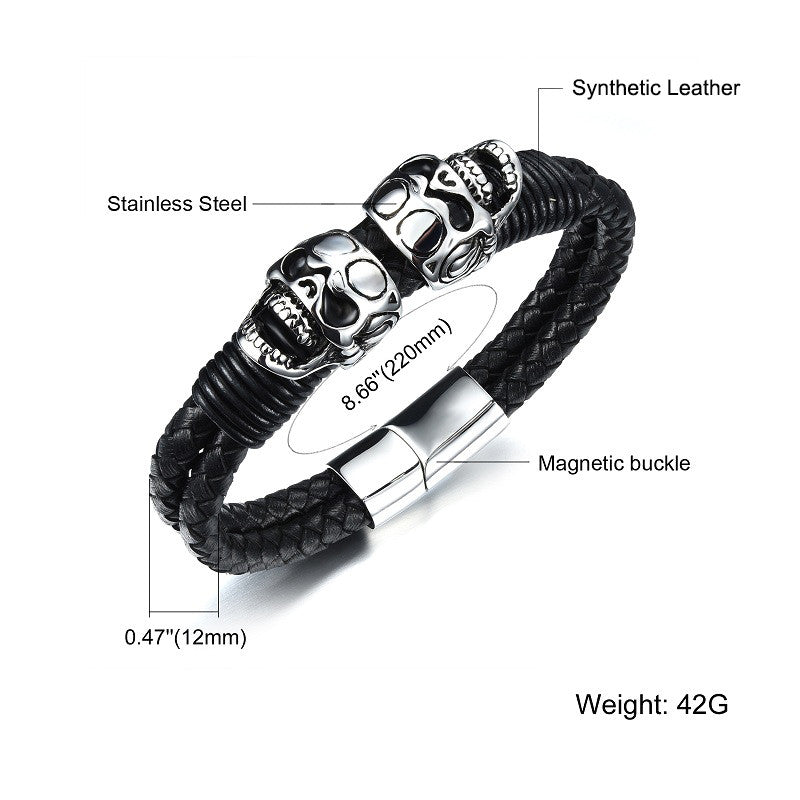 "Leather + Stainless Steel ""Double Skull"" Bracelet - Blown Biker - 6"