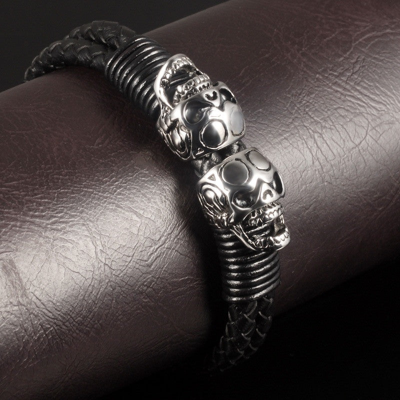 "Leather + Stainless Steel ""Double Skull"" Bracelet - Blown Biker - 2"