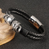"Leather + Stainless Steel ""Double Skull"" Bracelet - Blown Biker - 4"