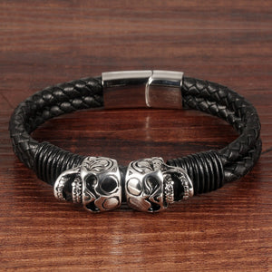 "Leather + Stainless Steel ""Double Skull"" Bracelet - Blown Biker - 3"
