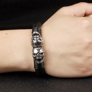 "Leather + Stainless Steel ""Double Skull"" Bracelet - Blown Biker - 5"