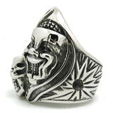 "316L Stainless Steel ""Duplex Clown Mask"" Ring"