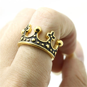 "316L Stainless Steel ""Golden Crown"" Ring"