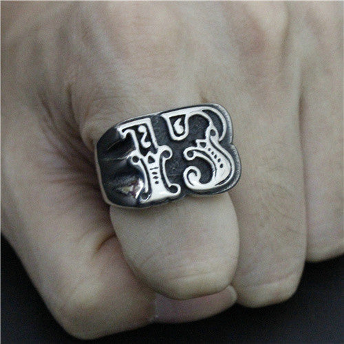 "316L Stainless Steel ""Big Lucky 13"" Ring"