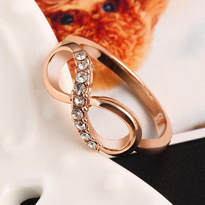 "Rose Gold Plated ""Infinity Crystals"" Ring - Blown Biker - 2"
