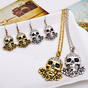 Crystal Skulls Necklace/Earrings Jewelry Set - Blown Biker - 2