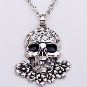 Crystal Skulls Necklace/Earrings Jewelry Set - Blown Biker - 4