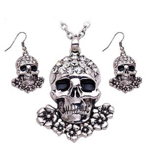 Crystal Skulls Necklace/Earrings Jewelry Set - Blown Biker - 1