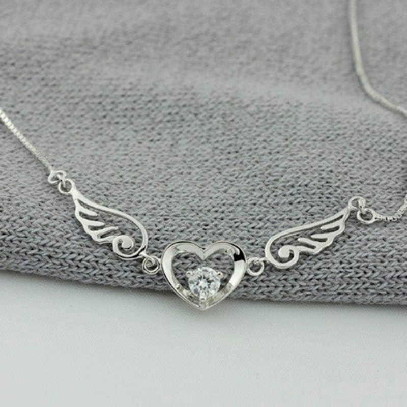 "925 Sterling Silver ""Goddess Of Victory"" Angel Wings Necklace - Blown Biker - 2"
