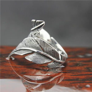 "316L Stainless Steel ""Feather"" Ring - Blown Biker - 4"
