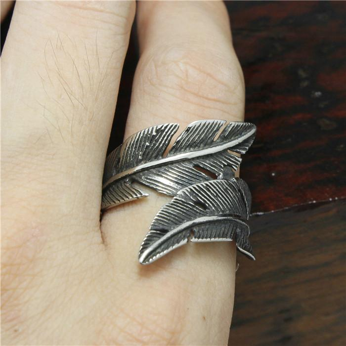 "316L Stainless Steel ""Feather"" Ring - Blown Biker - 2"