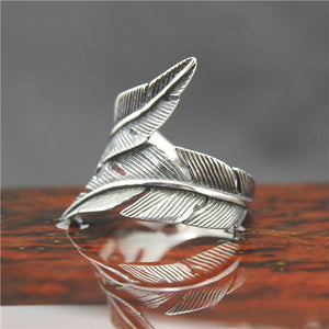 "316L Stainless Steel ""Feather"" Ring - Blown Biker - 3"