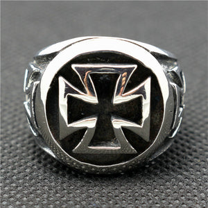 "316L Stainless Steel ""Iron Cross"" Ring - Blown Biker - 1"