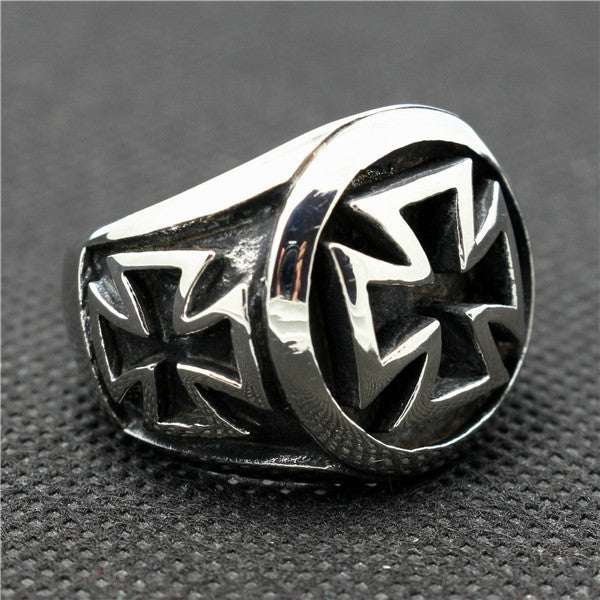 "316L Stainless Steel ""Iron Cross"" Ring - Blown Biker - 6"