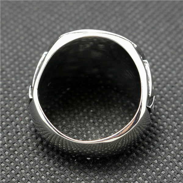 "316L Stainless Steel ""Iron Cross"" Ring - Blown Biker - 7"