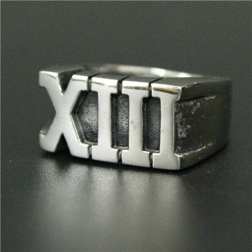 "316L Stainless Steel ""Lucky 13"" Ring"