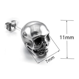"316 Stainless Steel ""Silver Skull"" Earrings - Blown Biker - 5"