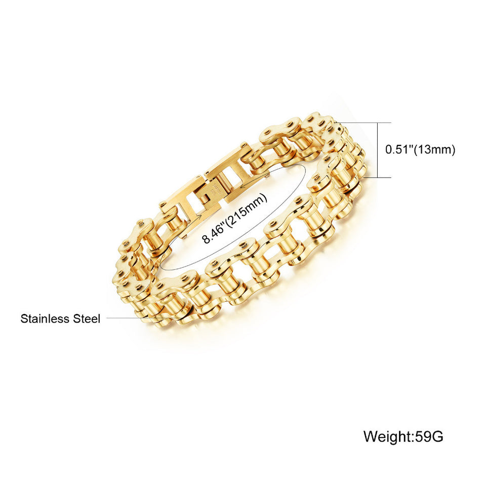 "316L Stainless Steel ""Pure Gold"" Bracelet - Blown Biker - 5"