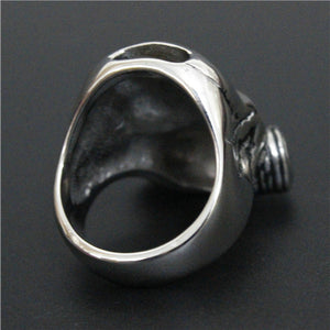 "316L Stainless Steel ""Polished Gas Mask"" Ring"