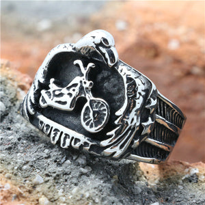 "316L Stainless Steel ""Black Eagle Biker"" Ring"