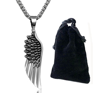 "316L Stainless Steel ""Angel Wing"" Necklace - Blown Biker - 5"