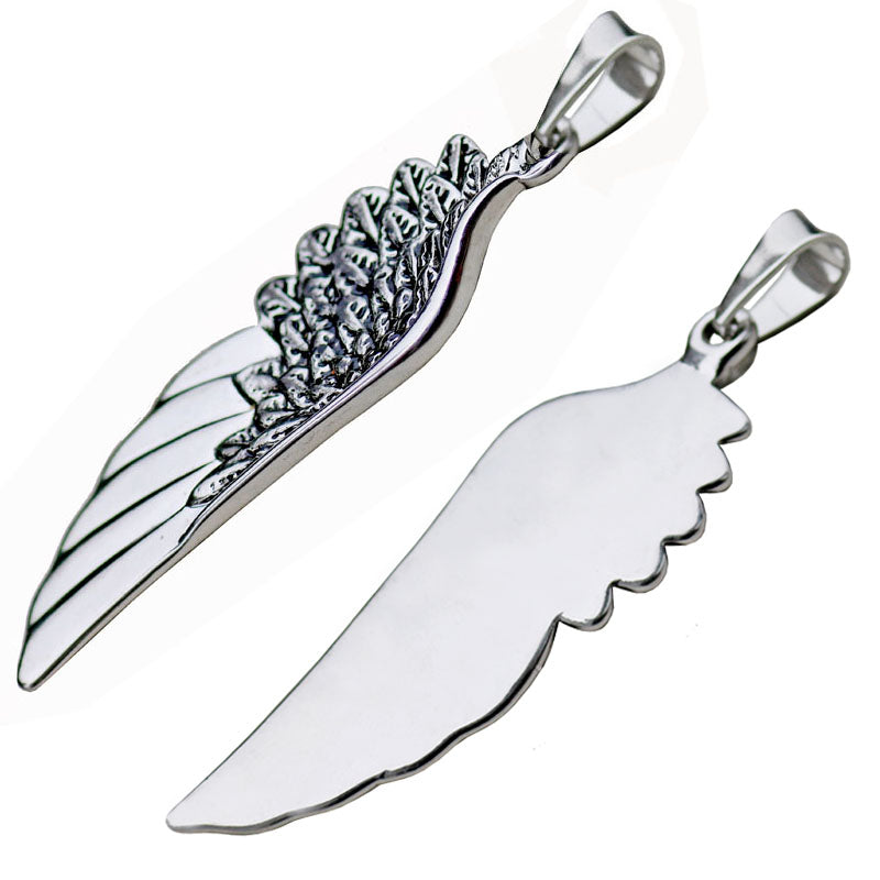 "316L Stainless Steel ""Angel Wing"" Necklace - Blown Biker - 2"