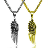 "316L Stainless Steel ""Angel Wing"" Necklace - Blown Biker - 1"