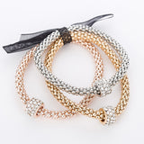"Rose Gold/Silver/Gold ""3 In 1"" Rhinestone Bracelet Pack - Blown Biker - 4"