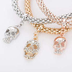 "Rose Gold/Silver/Gold ""3 In 1"" Rhinestone Bracelet Pack - Blown Biker - 3"