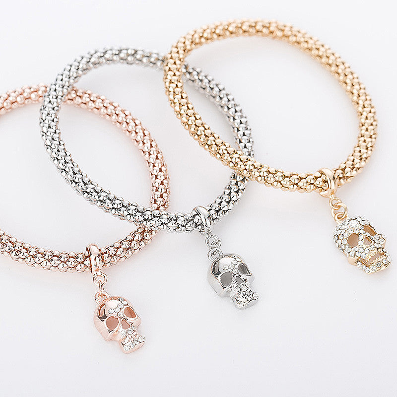 "Rose Gold/Silver/Gold ""3 In 1"" Rhinestone Bracelet Pack - Blown Biker - 2"