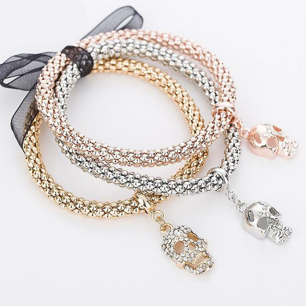 "Rose Gold/Silver/Gold ""3 In 1"" Rhinestone Bracelet Pack - Blown Biker - 1"