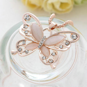 "Rose Gold ""Butterfly Crystal"" Pendant Necklace - Blown Biker - 6"