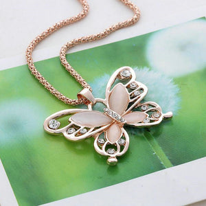 "Rose Gold ""Butterfly Crystal"" Pendant Necklace - Blown Biker - 5"